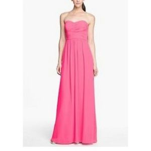 donna morgan pink strapless gown size 8